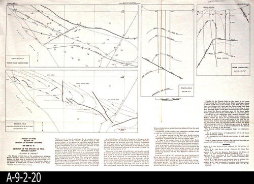 "This map was published by the State of California, Division of Mines, Bulletin 170.  This map covers the geology of the Rincon Oil Field, Ventura County.  A geology report on the area by Robert H. Paschall is printed on the map. - MEASUREMENTS:  14 3/4"" X 22"" - CONDITION:  Good. - COPIES:  1 - MAP ORIENTATION: Top is North."