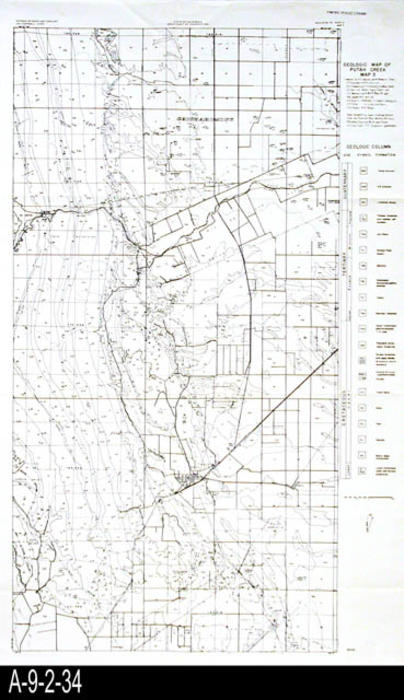 "This map was published by the State of California, Division of Mines, Bulletin 181, Part 4, Map 3.  This is a geologic map of Putah Creek -  MEASUREMENTS:  24"" X 14 3/4"" - CONDITION:  Good."