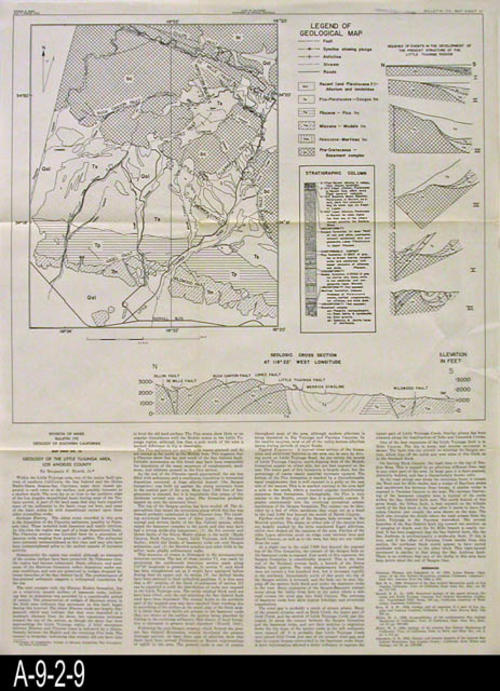 "This map was published by the State of California, Division of Mines, Bulletin 170.  This map covers the geology of the Little Tujunga Area, Los Angeles County.  A geology report on the area by Benjamin F. Howell, Jr. is printed on the map. - MEASUREMENTS:  23"" X 17 3/4"" - CONDITION:  Good. 1/2"" tear starting from the right edge. - COPIES:  1 - MAP ORIENTATION: Top is North."