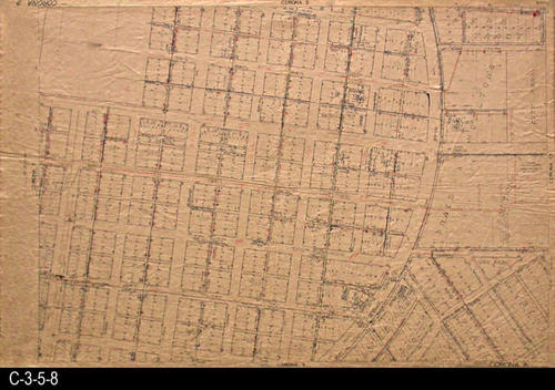 "This area covered by this map has the approximate street boundaries:  N-Fourth St., S-Tenth St., E-Cedar St. and Joy Park, and W-Main St. - MEASUREMENTS:  23.5"" X 36"" - CONDITION:  This oil skin map is very legible, but does show wear and tear.  COPIES:  1 - MAP ORIENTATION:  Top is NORTH.  2007 Approximate Thomas Guide Reference:  p. 743, D5, E5 - D6, E6."