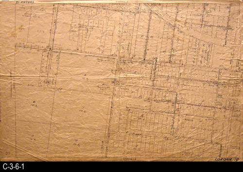 "This area covered by this map has the approximate street boundaries:  N-Eleventh St., S-Crestview, E-Main St, and W-Vicentia - MEASUREMENTS:  23.5"" X 36"" - CONDITION:  This oil skin map is very legible, but does show wear and tear.  COPIES:  1 - MAP ORIENTATION:  Top is NORTH.  2007 Approximate Thomas Guide Reference:  p. 743, C6, D6; C7, D7."