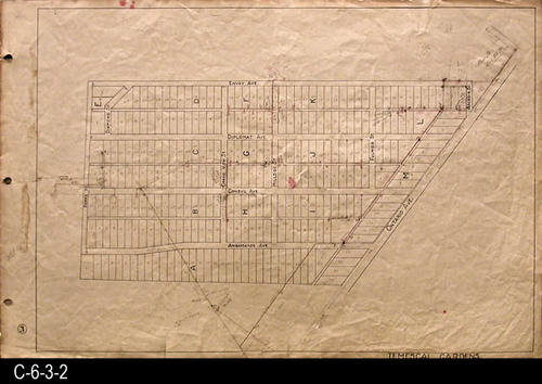 "Two streets that are shown in the 2007 Thomas Guide are Poppy St. and Ontarion Ave. A pencil notation in the upper right hand corner references Riv. Co.  325. This map is similar to the maps in this series, but no ""D"" number for group placement.  - MEASUREMENTS:  23.5"" X 36"" - CONDITION:  This oil skin map is very legible, but does show wear and tear. Stains are noted in the left margin area. - COPIES:  1 - MAP ORIENTATION:  Left end is NORTH.  2007 Approximate Thomas Guide Reference:  p. 773, J2, J3."