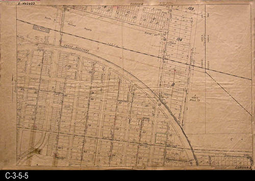 "This area covered by this map has the approximate street boundaries:  N-Harrison St., S-Fourth St., E-Pearl St., and W-Washburn - MEASUREMENTS:  23.5"" X 36"" - CONDITION:  This oil skin map is very legible, but does show wear and tear.  Several are taped in the lower left corner area..  COPIES:  1 - MAP ORIENTATION:  Top is NORTH.  2007 Approximate Thomas Guide Reference:  p. 743, D4, E4 - D5 ,E5"