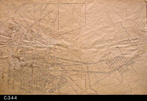 "This area covered by this map has the approximate street boundaries:  N-First St., S-Olive St., E-McKinley St., and W-Buena Vista  - MEASUREMENTS:  23.5"" X 36"" - CONDITION:  This oil skin map is very legible, but does show wear and tear.  No rips. There is considerable black areas that may be mold. - COPIES:  1 - MAP ORIENTATION:  Top is NORTH.  2007 Approximate Thomas Guide Reference:  p. 743"