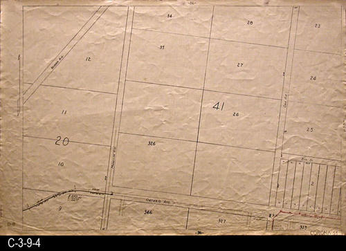 "The N/S street(s) are:  Mangular Ave. and Oak Ave. The E/W street(s) is Ontario Ave. at the bottom of the map.  MEASUREMENTS:  24"" X 36"" - CONDITION:  This oil skin map is very legible, but does show wear and tear.  COPIES:  1 - MAP ORIENTATION:  Top is NORTH.  2007 Approximate Thomas Guide Reference:  p. 773, A7.  1985 Thomas Guide, p. 26, A2. The 1955 Renie Road Atlas, p.103, A1, B1 and A2, B2."
