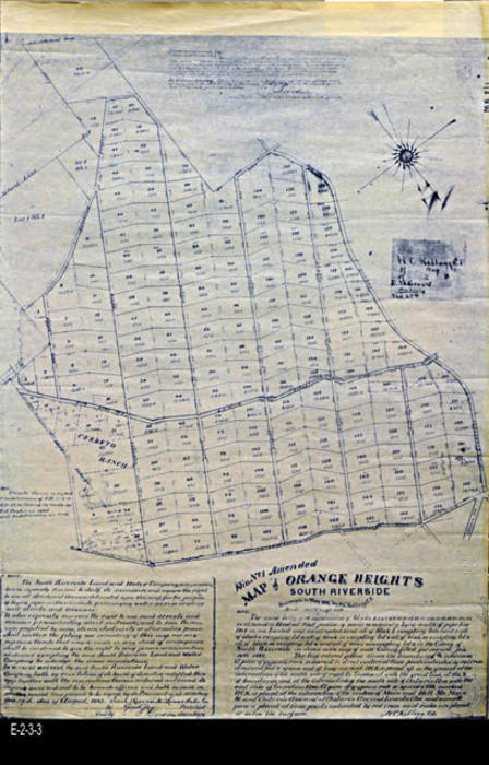 "This is an Ammended map of Orange Heights - South Riverside.  The area shown on the map was survered in May 1891 by H. C. Kellogg a civil engineer. There are notes and legal information at the bottom of the map. - MEASUREMENTS:  30"" x 20""- CONDITION:  Good  - COPIES:  1 - MAP ORIENTATION:  This map has a compas rose which indicates north towards the right side of the map."