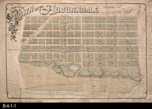"This oilcloth map is a map of the town of Auburndale.  Auburndale was north of Corona and some of the original streets still exist, but the town name does not exist today. MEASUREMENTS:  26"" x 41"" - CONDITION:  All three copies of this map are vry legible.  All show wear and tear.  Copy 3 of 3 is very light.   Copy 2 of 3 is in a Myler Sleeve. - COPIES:  3 - MAP ORIENTATION: Top is NORTH"