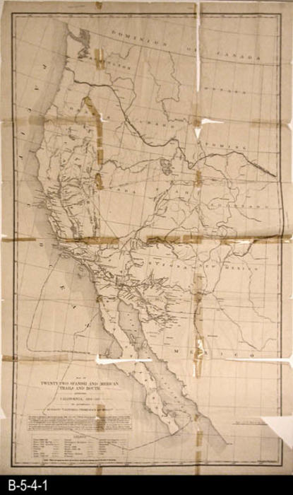 "This is map shows twenty-two Spanish and American trails and routes affecting California from 1694 to 1849.  This map accompanies the book:  rICHAMN'S ""CALIFORNIA UNDER SPAIN AND MEXICO.' MEASUREMENTS:  24 1/4"" x 39 1/4""""- CONDITION:  This map shows severe deterioration and is taped on many of the fold lines, and is in a Mylar sleeve.  Map information is clear as the map is not faded.   - COPIES:  1 - MAP ORIENTATION:  Top is NORTH."
