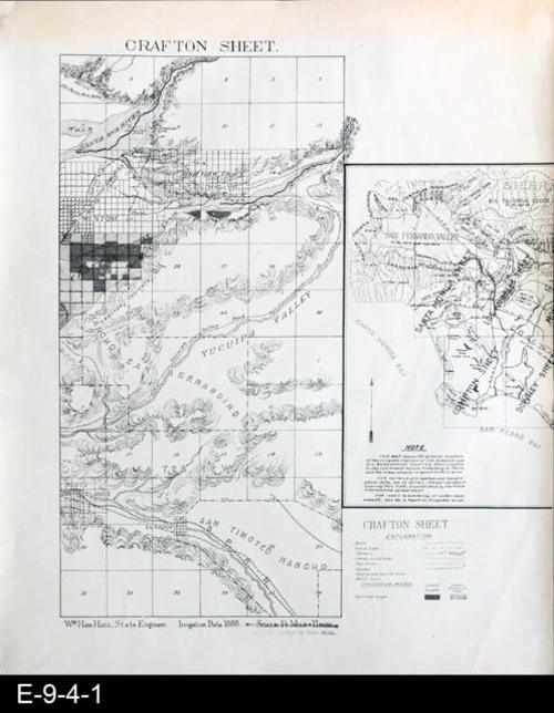 "This is a white photocopy of the original map.  The name Crafton Sheet comes from the town of Crafton that can be located on the left edge of the map and going down about 8"" just below Mentone.  Below it is Crafton Heights. The map is bsed on 1888 irrigation data. There is an identical black photocopy ( E-9-4-2).  MEASUREMENTS: 21 1/4"" x 18"", CONDITION:  Good, COPIES:  1."