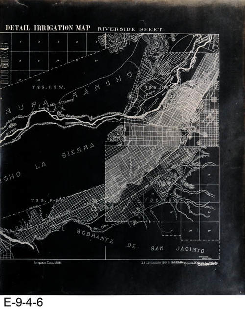 "This map is a black photocopy of the right side of the original Riverside Sheet - Detail Irrigation Map.  There is also a white copy (E-9-4-5).  Shown on the map are South Riverside (now Corona), Rancho La Sierra, Jurupa Rancho, and Rancho El Sobrante De San Jacinto.  The irrigation features shown are based on 1888 irrigation data.  MEASUREMENTS:  20 3/8"" X 17"", CONDITION:  Good, COPIES:  1."