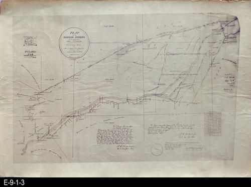 "This plat map is of Rancho Jurupa is a copy of the original. It was filed on 08/08/1893. MEASUREMENTS:  14 3/4"" X 20 3/4"", CONDITION:  Good, the edge are slightly frayed in places, COPIES:  1."