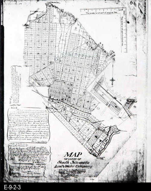 "This is a white photostat of the original map.  The map shows the New Colony and Townsite, now Corona, California. A scale has been added to this photostatic copy that was not part of the original map.   (See also E-9-2-1 and E-9-2-2 for similar maps.) MEASUREMENTS:  20"" X 16"", CONDITION:  Good, COPIES: 1"