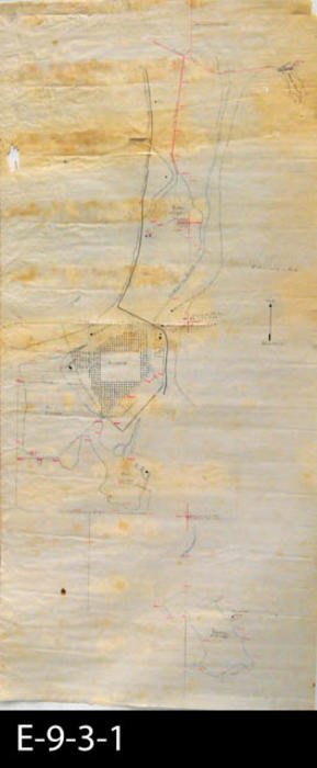 "This is a hand drawn map relating to the Compton-Serrano properties.  The map has been drawn on a parchment paper.  The South Riverside (now Corona) Temescal Road is shown on the map.  MEASUREMENTS:  (Copy 1) 35 1/2"" x 18 3/4"", (Copy 2) 36 1/4"" x 16 1/4"", CONDITION:  Both copies of the map are kept in separate Mylar sleeves.  Both maps show deteriorating paper.  COPIES:  2."