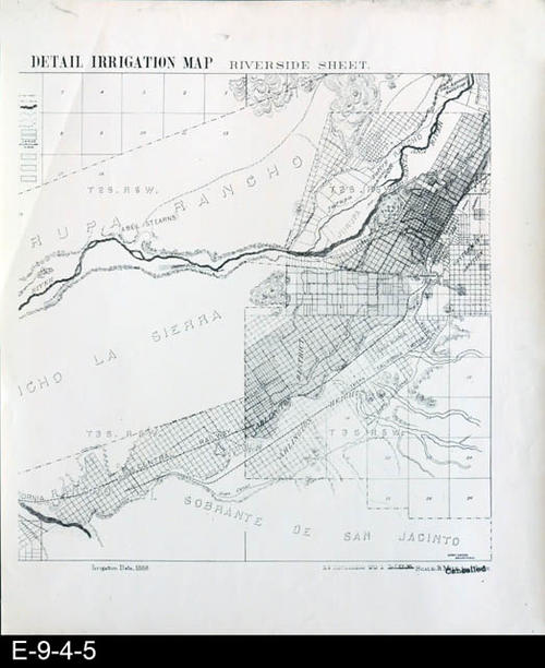 "This map is a white photocopy of the right side of the original Riverside Sheet - Detail Irrigation Map.  There is also a black copy (E-9-4-6).  Shown on the map are South Riverside (now Corona), Rancho La Sierra, Jurupa Rancho, and Rancho El Sobrante De San Jacinto.  The irrigation features shown are based on 1888 irrigation data.  MEASUREMENTS:  20 3/8"" X 17"", CONDITION:  Good, COPIES:  1."