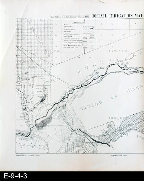 "This map is a white photocopy of the left side of the original Riverside Sheet - Detail Irrigation Map.  There is also a black copy (E-9-4-4).  Shown on the map are South Riverside (now Corona), Rancho La Sierra, Jurupa, and Rancho El Rincon.  The irrigation features shown are based on 1888 irrigation data.  MEASUREMENTS:  20 3/8"" X 17"", CONDITION:  Good, COPIES:  1."