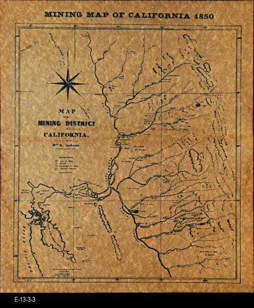 "This map reproduction shows the mining district of California. MEASUREMENTS:  15 3/4"" X 13 1/2"" - CONDITION:  This map is printed on simulated parchment paper.  Map in excellent condition. - COPIES:  1 - MAP ORIENTATION:  Top is NORTH."