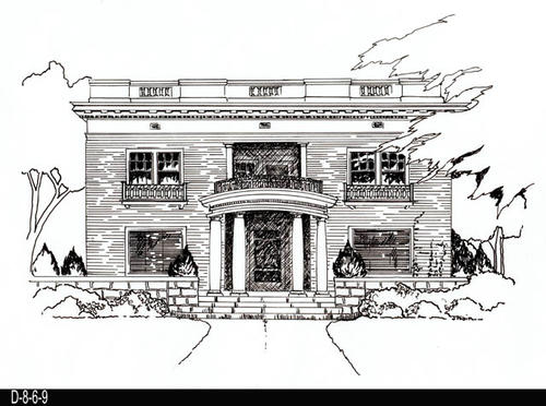 "This drawing is one in a series of 11 drawings done by Vincent Bautista of historic homes in Corona for the Corona Preservation Society.  The specific addresses of the homes were not recorded at the time the drawing was done.  Each pen and ink drawing was complted on an 11 3/16"" x 14"" piece of white drawing paper.  MEASUREMENTS:  11 3/16 x 14 - CONDITION:  Excellent - Each drawing COPIES:  1."