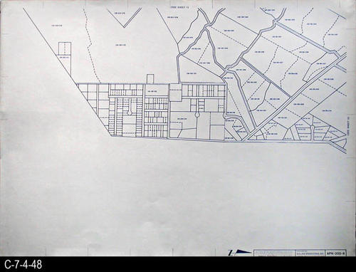 "This map is available for viewing at the library; however, map images are restricted.  DO FIRST:  Start with the INDEX and VICINITY MAP (C-7-4-1). It  will show which map in the collection has the information for each specific area in the collection. APN-200-8 is a map with a scale of 1"" equals 200' and shows the Assessor's Parcel Numbers on the P-200 series maps. It corresponds to SHEET 8 on the INDEX and VICINITY MAP. MEASUREMENTS:  30"" X 41 3/4"" - CONDITION:  All maps are in very good condition.  They do reflect regular wear and tear.  Some maps are beginning to develop a brown tone on the right edge area.  COPIES:  1 SET. - MAP ORIENTATION:  The Right side of the map is NORTH on all full page maps and aerial views."