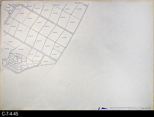 "This map is available for viewing at the library; however, map images are restricted.  DO FIRST:  Start with the INDEX and VICINITY MAP (C-7-4-1). It  will show which map in the collection has the information for each specific area in the collection. APN-200-5 is a map with a scale of 1"" equals 200' and shows the Assessor's Parcel Numbers on the P-200 series maps. It corresponds to SHEET 5 on the INDEX and VICINITY MAP. MEASUREMENTS:  30"" X 41 3/4"" - CONDITION:  All maps are in very good condition.  They do reflect regular wear and tear.  Some maps are beginning to develop a brown tone on the right edge area.  COPIES:  1 SET. - MAP ORIENTATION:  The Right side of the map is NORTH on all full page maps and aerial views."