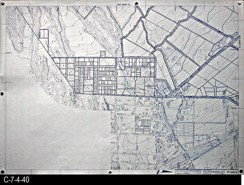 "This map is available for viewing at the library; however, map images are restricted.  DO FIRST:  Start with the INDEX and VICINITY MAP (C-7-4-1). It  will show which map in the collection has the information for each specific area in the collection. PT-200-8 is a map with a scale of 1"" equals 200' and shows property lines superimposed on a topographical map. It corresponds to SHEET 8 on the INDEX and VICINITY MAP. MEASUREMENTS:  30"" X 41 3/4"" - CONDITION:  All maps are in very good condition.  They do reflect regular wear and tear.  Some maps are beginning to develop a brown tone on the right edge area.  COPIES:  1 SET. - MAP ORIENTATION:  The Right side of the map is NORTH on all full page maps and aerial views."
