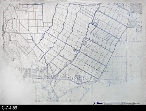 "This map is available for viewing at the library; however, map images are restricted.  DO FIRST:  Start with the INDEX and VICINITY MAP (C-7-4-1). It  will show which map in the collection has the information for each specific area in the collection. PT-400-11 is a map with a scale of 1"" equals 400' and shows property lines superimposed on a topographical map. It corresponds to SHEET 11 on the INDEX and VICINITY MAP. MEASUREMENTS:  30"" X 41 3/4"" - CONDITION:  All maps are in very good condition.  They do reflect regular wear and tear.  Some maps are beginning to develop a brown tone on the right edge area.  COPIES:  1 SET. - MAP ORIENTATION:  The Right side of the map is NORTH on all full page maps and aerial views."