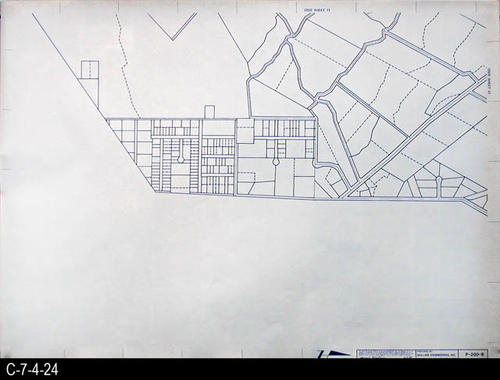 "This map is available for viewing at the library; however, map images are restricted.  DO FIRST:  Start with the INDEX and VICINITY MAP (C-7-4-1). It  will show which map in the collection has the information for each specific area in the collection. P-200-8 is a map with a scale of 1"" equals 200' and shows property ownership and street right-of-way lines. It corresponds to SHEET 8 on the INDEX and VICINITY MAP. MEASUREMENTS:  30"" X 41 3/4"" - CONDITION:  All maps are in very good condition.  They do reflect regular wear and tear.  Some maps are beginning to develop a brown tone on the right edge area.  COPIES:  1 SET. - MAP ORIENTATION:  The Right side of the map is NORTH on all full page maps and aerial views."