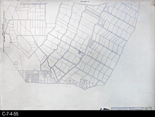 "This map is available for viewing at the library; however, map images are restricted.  DO FIRST:  Start with the INDEX and VICINITY MAP (C-7-4-1). It  will show which map in the collection has the information for each specific area in the collection. P-400-11 is a map with a scale of 1"" equals 400' and shows property ownership and street right-of-way lines. It corresponds to SHEET 11on the INDEX and VICINITY MAP. MEASUREMENTS:  30"" X 41 3/4"" - CONDITION:  All maps are in very good condition.  They do reflect regular wear and tear.  Some maps are beginning to develop a brown tone on the right edge area.  COPIES:  1 SET. - MAP ORIENTATION:  The Right side of the map is NORTH on all full page maps and aerial views."
