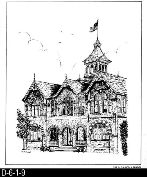 "This pen and ink drawing is of the Old Lincoln School in Corona, CA. c. 1889.  See the Bicentennial Calendar # D-6-1-23.  MEASUREMENTS:  12 1/2"" X 10 3/4"" - CONDITION:  Excellent - COPIES:  1."