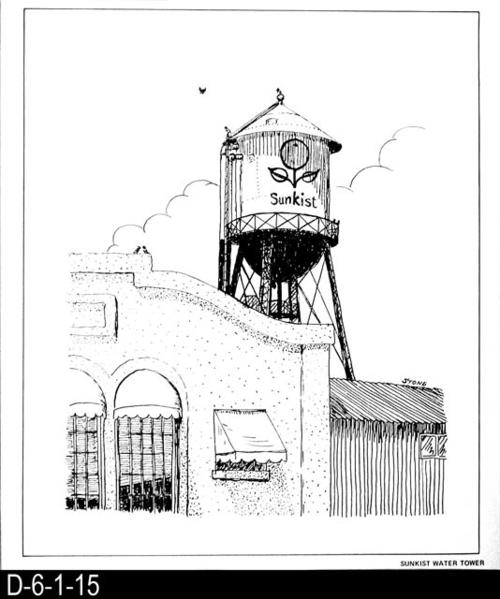 "This pen and ink drawing is of the Sunkist Water Tower in Corona, CA. c. 1924.  See the Bicentennial Calendar # D-6-1-23.  MEASUREMENTS:  12 1/2"" X 10 3/4"" - CONDITION:  Excellent - COPIES:  1."