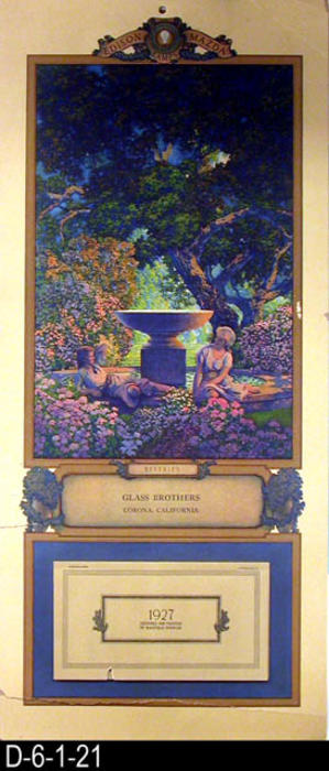"This is a calendar designed and pained by Maxfield Parrish, a premier American Artist, for the Edison Lamp Work of the General Electric  Company.  The painted scene is titled: ""Reveries,"" and was distributed by Glass Brothers of Corona, California.  The back of the calendar tells about the picture and Lamps (electric light bulbs) for the home manufactured by General Electric.  MEASUREMENTS:  19"" X 8 1/2"" - CONDITION:  Good with the exception of a 4 3/4"" rip that extends into the crease that is the width of the calendar.  The upper right hand corner is bent, and two shorter rips coming in from the left edge.  COPIES:  1."