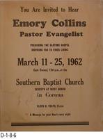 Poster - Evangelist Emory Collins