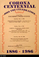 Poster - Corona Centennial - Founder's Week Events