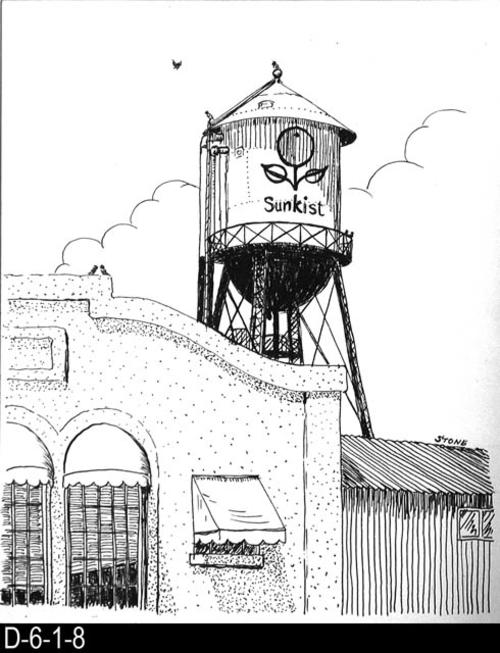 "This pen and ink drawing is of the Sunkist Water Tower in Corona, CA. c. 1927.  MEASUREMENTS:  10 1/2"" X 8 1/2"" - CONDITION:  Excellent - COPIES:  1."