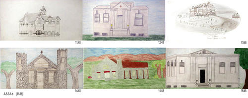 "In 2001 a Tile Contest was held for student drawings depicting Corona History.  The art was to be reproduced on tiles for a Water Wall in the lobby of the Corona Public Library.  Due to financial considerations the tiles were unable to be used. Many of the drawings were done using crayon.  Some, pencil only and a few seem to be oil pastel. This set of six drawings are those submitted using pencil or pencil and crayon. - MEASUREMENTS: Most drawings are on 8"" x 16"" paper.  A few are of a different size. - CONDITION:  All drawings are in excellent condition. - SETS:  One drawing for each of the 48 submitted."