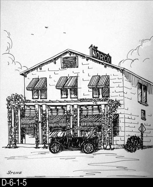 "This pen and ink drawing is of the Norco Store in Norco, CA. c. 1922.  MEASUREMENTS:  10 1/2"" X 8 1/2"" - CONDITION:  Excellent - COPIES:  1."