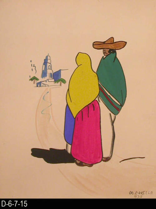 "Sunday depicts a man and a woman walking on a trail heading for church.  MEASUREMENTS: 12"" X 9 1/2"" - CONDITION:  This piece of art is kept in a protective sleeve.  The piece of art is in excellent condition.  - COPIES:  1."