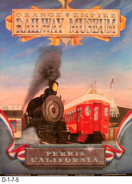 "This poster advertises the Orange Empire Railway Museum, Parris, California.  The 200 line color separations was by Inland Color Graphics and the UV coatings by Quality Graphics Service.  The poster features and old locomotive and a red car.  MEASUREMENTS:  24.5"" X  18.25"" - CONDITION:  Excellent - COPIES:  2."