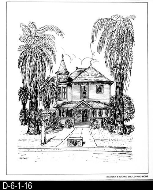 "This pen and ink drawing is of the Ramona and Grand Boulevard Home in Corona, CA. c.1899.  See the Bicentennial Calendar # D-6-1-23.  MEASUREMENTS:  12 1/2"" X 10 3/4"" - CONDITION:  Excellent - COPIES:  1."