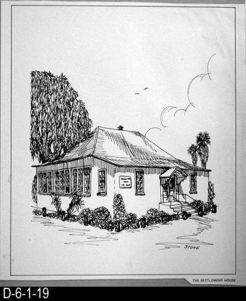 "This pen and ink drawing is of Settlement House in Corona, CA. c. 1905. See the Bicentennial Calendar # D-6-1-23.  MEASUREMENTS:  12 1/2"" X 10 3/4"" - CONDITION:  Excellent - COPIES:  1."