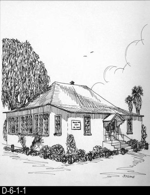 "This pen and ink drawing is of the Settlement House in Corona, CA. c. 1905.  MEASUREMENTS:  10 1/2"" X 8 1/2"" - CONDITION:  Excellent - COPIES:  1."