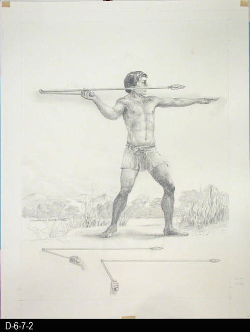 "Clovis Man depicts a man throwing a spear which he had perfected from the throwing stick.  There is a small picture also on the back.  HISTORICAL INFORMATION on the BACK:  Clovis Man lived approximately 10,000 to 15,000 years ago.  Clovis Man perfected the earlier throwing stick to a one handed spear approximately 3 to 4 feet long.   MEASUREMENTS:  15 1/2"" X 12"" - CONDITION:  This art work is kept in a protective sleeve.  It is in excellent condition. - COPIES:  1."