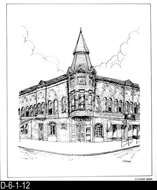 "This pen and ink drawing is of the Citizens' Bank in Corona, CA. c. 1887.  See the Bicentennial Calendar # D-6-1-23.  MEASUREMENTS:  12 1/2"" X 10 3/4"" - CONDITION:  Excellent - COPIES:  1."