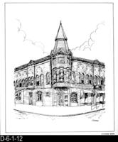 Pen and Ink Drawing - Citizens' Bank - April