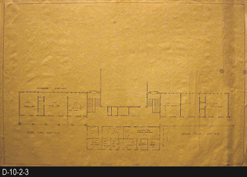 "This blueprint is part of the Corona Civic Center Master Plan.  This blueprint covers the second floor including the East and West Wing.  Included with the storage of this print is a two-page, carbon copy of a document dated May 1963 titled:  ""Civic Center Master Plan - City of Corona.""  MEASUREMENTS:  24"" X 36"" - CONDITION:  Very  good, two small circular spots are on the right side of the blueprint - COPIES:  1."