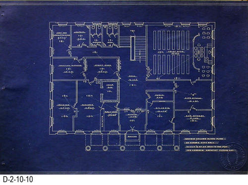 "This is a set of blueprints for the 1912 City Hall for the City of Corona, CA.  This blueprint is for the Revised Second Floor Plan.  The blueprint scale is 1/8"" = 1'.  Each blueprint has the embossed seal of Leo Kroonen indicating he is a certified architect.  MEASUREMENTS:  11 1/2"" X 16 3/4"" - CONDITION:  At one time these blueprints were in a binder and have punch holes on the left side.  Some of the edges are frayed.  The legibility of the prints are excellent.  COPIES:  1 SET."