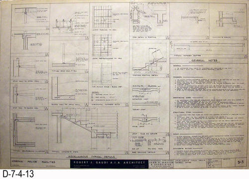 "THESE PRINTS ARE FOR VIEWING ONLY BY AUTHORIZED INDIVIDUALS:  This blueprint is for the Corona Police Facility.  Page S3 shows Miscellaneous Typical  Details - General Notes.   MEASUREMENT:  24"" X 36.5"" - CONDITION:  Excellent condition.  Some pages have minor tears on the margin edges. - COPIES:  1."