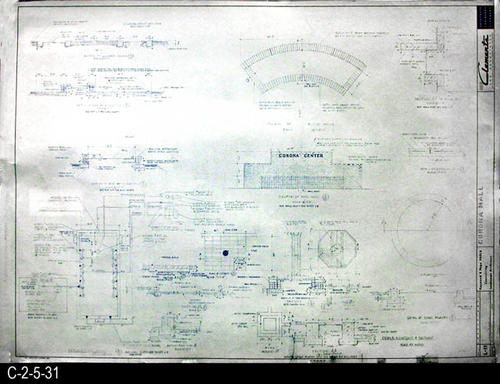 "This blueprint is part of a 26 blueprint set for the Corona Mall in connection with the Corona Downtown Redevelopment Project.  MEASUREMENTS:  30"" X 42.5"" - CONDITION:  This blueprint is fully legible, but shows the wear and tear of field use.   In addition, the bottom edge is irregularly trimmed, and there is brown staining on the back side of the right end.  - COPIES:  1."
