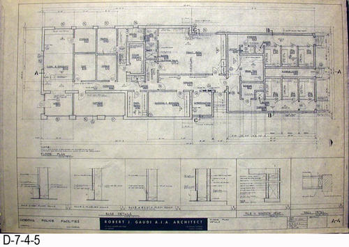 "THESE PRINTS ARE FOR VIEWING ONLY BY AUTHORIZED INDIVIDUALS:  This blueprint is for the Corona Police Facility.  Page A-4 shows FLOOR PLAN DETAILS.   MEASUREMENT:  24"" X 36.5"" - CONDITION:  Excellent condition.  Some pages have minor tears on the margin edges. - COPIES:  1."