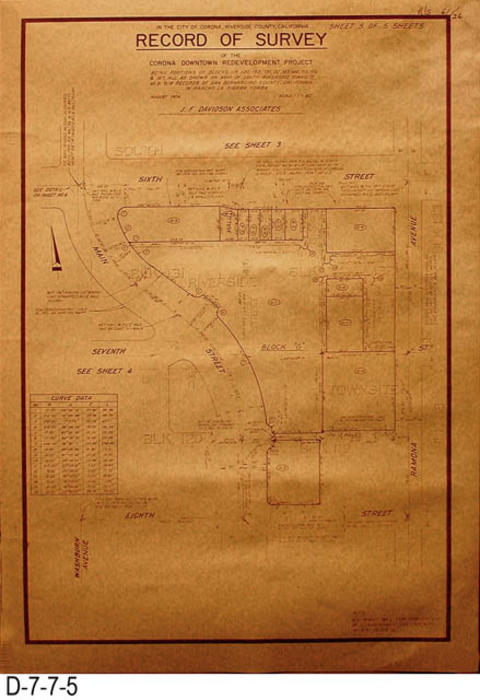 "Page five of the survey covers the following North-South Streets:  6th, 7th and 8th.  The following are the West-East Streets and Avenues:  Main Street and Ramona Avenue.  MEASUREMENTS:  26"" X 18"" - CONDITION:  Upper right hand corner shows evidence of water damage but does to effect the legibility of the survey. - COPIES:  1."