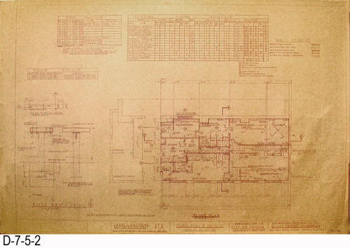 "This eight page set of blueprints was for the Phase One Alterations to the Corona Civic Center Gymnasium located at 815 W. Sixth Street.  Plans were prepared for the City of Corona, Department of Recreation.  Page 2: Floor Plan and Details. MEASUREMENTS:  24"" X 36"" - CONDITION: General condition is very good.  However, some edges are frayed and have occasional tears.   - COPIES: 1."